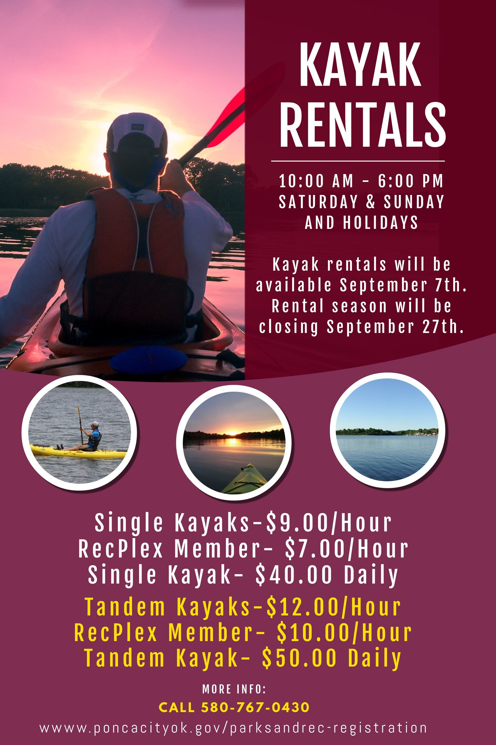 Kayak fall hours
